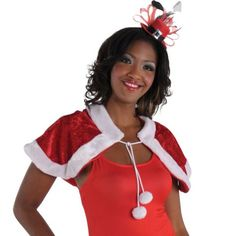 Red Christmas Capelet - Party City