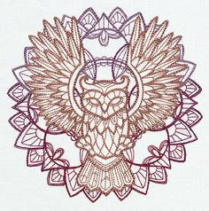 Anima - owl urban threads: unique and awesome embroidery designs. Mandala Design, Machine Embroidery Designs, Embroidery Patterns, Mandalas Drawing, Urban Threads, Owl Art, Flower Mandala, Mandala Tattoo, Tattoo Owl