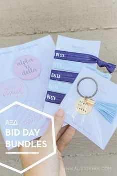 Spoil your new members this recruitment with the Pref Present bundle! Gift bag includes a sorority tassel keychain, hair tie set, and button set. Alpha Xi Delta Gifts | Alpha Xi Delta Bid Day | AXiD New Member Gifts | Alpha Xi Rush Gift Bags | Alpha Xi Delta Recruitment | Sorority Bid Day | Sorority Recruitment | Bid Day Bags | Sorority New Member Gift Ideas #BidDayGifts #SororityRecruitment Sorority Bid Day, Sorority Recruitment, Sorority Gifts, Bid Day Gifts, Bid Day Themes, Greek Gifts, Alpha Sigma Alpha, Tassel Keychain, Elastic Hair Ties