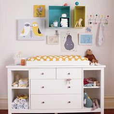 Regular old dresser turns into clean, classic changing table.