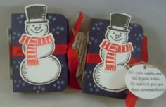 """Snowman Kisses"".  Holds TicTac Candy.  Make a nice stocking stuffer. www.eileenlang.stampinup.net Images © Stampin' Up!"