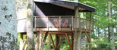 Cabanes dans les arbres **** à Coeuve (Jura) | Les Cabanes du Mont House Styles, Home Decor, Spiral Staircase, Coffeemaker, Kettle, Breakfast Nook, Cabins, Switzerland, Coffee Making Machine