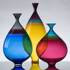 Blown glass vases by Michael Schunke