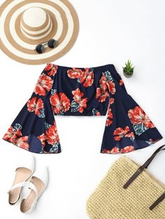 SHARE & Get it FREE | Off Shoulder Floral Flare Sleeve Crop TopFor Fashion Lovers only:80,000+ Items • New Arrivals Daily Join Zaful: Get YOUR $50 NOW!