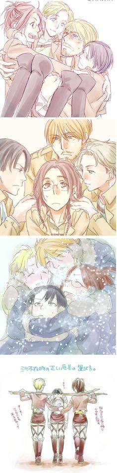 Levi, Mike, Hanji, Nanaba
