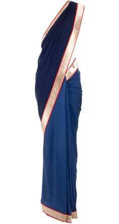Navy blue and deep red dual tone sari available only at Pernia's Pop-Up Shop.