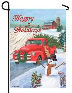 Country Christmas Themed Garden Flag With An Antique Red Truck Hauling A  Freshly Cut Christmas Tree