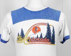 Vintage 1980's Ski Colorado Ringer TShirt  Size S by HoofAndAntler, $24.00