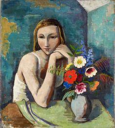 Karl Hofer, Mädchen mit Blumen, 1936                                                                                                                                                                                 More