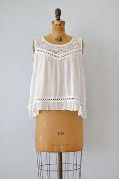 vintage inspired white gauze cotton lace boho top