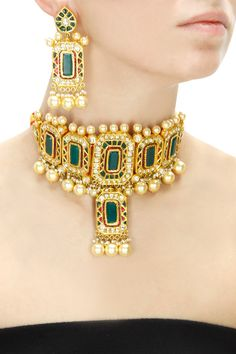 Amrapali presents Gold plated green onyx crystal choker set available only at Pernia's Pop-Up Shop