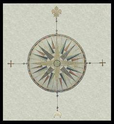 Rose compass tattoo idea.