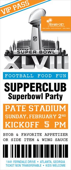 Superbowl XLVII Party Ticket Invitation by VivVahChey on Etsy - party ticket invitations