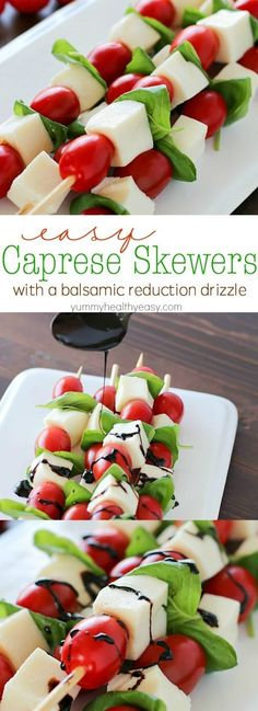 Easy Caprese Skewers with a Balsamic Reduction Drizzle - Summer afternoons call for these fun Caprese Skewers! Cherry tomatoes, fresh basil and cubes of mozzarella cheese threaded on skewers and drizzled with an easy balsamic reduction. Snacks Für Party, Appetizers For Party, Appetizer Recipes, Appetizers On Skewers, Baby Shower Appetizers, Halloween Appetizers, Healthy Diet Recipes, Cooking Recipes, Comida Baby Shower