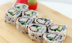 """I absolutely love sushi. Sushi is one of those foods that most people are quick to dub as """"heal. Kinds Of Sushi, My Sushi, Sushi Time, California Roll Sushi, California Rolls, Sushi Recipes, Bacon Recipes, Healthy Recipes, Vegetarian"""