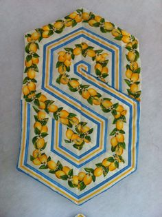 Table Runner, 60 degree ruler, Triangle Frenzy Swirls quilted---can also use with multiple FRUIT  prints