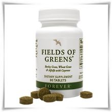 """With today's busy lifestyles & the convenience of fast food, we all too often neglect eating fresh, green foods. Forever Living multi vitamins 'Fields of Greens' provides a simple solution to """"convenience eating"""". Fields of Greens combines young barley grass, wheat grass, alfalfa & added cayenne pepper to help maintain healthy circulation & digestion. Honey is also added to promote energy & stamina."""