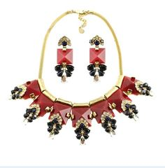 Free shipping new arrival fashion red square pendant chokers necklace/vintage big brand exaggerated women jewelry set-inJewelry Sets from Jewelry on Aliexpress.com | Alibaba Group