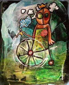 """spacetime-wheel (Peinture),  25x20 cm par Doudoudidon """"spacetime wheel""""  Peinture sur film radio médical Signé per l'artsite : Doudoudidon Loïc Tarin  Tentative d'explication visuelle de l'usure d'un être vivant dans son espace temps dédié 25 x 20 cm 2016"""