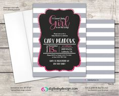 Chalkboard baby girl baby shower invitation with pink ombre glitter by DigiBabyDesign on Etsy #girlbabyshower #babyshower #invitation #glitter #pinkglitter