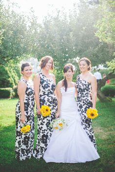 Black And White Print Bridesmaid Dresses - Missy Dress