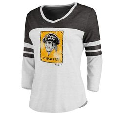 Pittsburgh Pirates Women's Cooperstown Two Tone Three-Quarter Sleeve Tri-Blend T-Shirt - White/Black