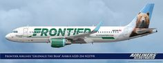 Frontier Airlines Grizwald the Bear Airbus A320-214 N227FR