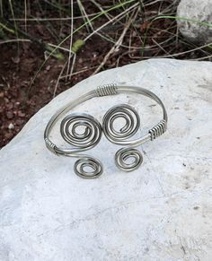 Celtic Upper Arm bracelet, Armlet, arm cuff, Boho Gypsy style Celtic spiral Adjustable arm jewelry Silver / German silver, Gift box included