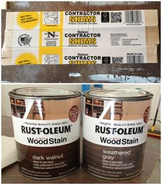 loving shims, there are so many décor uses for them. A few of our favorite Rustoleum stains in dark walnut and weathered gray. Popular with the Poplins