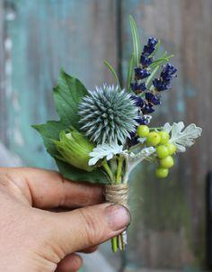 Lock Cottage Flowers, Surrey UK August buttonhole with echinops, lavender, hazelnut, viburnum berries