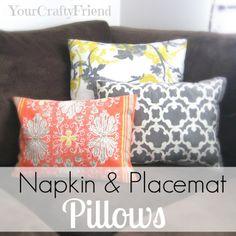 DIY Pillows made from napkins at craftygirlaz.blogspot.com