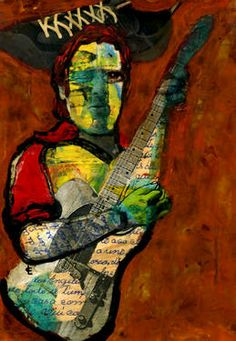 "Saatchi Art Artist CARMEN LUNA; Collage, ""38-Collagemania Carmen Luna. Bruce Springsteen"" #art http://www.saatchiart.com/art-collection/Painting-Collage/Todo-a-220-Arte-de-Coleccion/71968/77254/view"