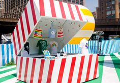 Rainbow City pop-up shop (or Box) by NYC firm Hollwich Kushner. #PopUpRetail #NYC pop up shops, rainbow citi, retail displays, shop box, rainbows, store design, pop up store, black box, coloring books