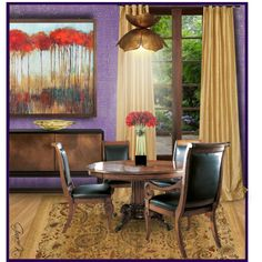 Purple & Gold Dining by gracekathryn on Polyvore featuring interior, interiors, interior design, home, home decor, interior decorating, Fine Furniture Design, Jamie Young, Hervé Gambs and Designers Guild