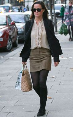 Pippa:  Coats, tights, dresses, skinnies, boots...  Love her.