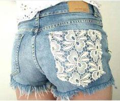 Lace Flower Denim Shorts