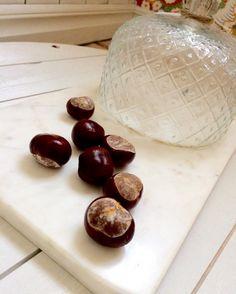 Kastanjer & marmor 🍁 höst 🍁 marmorbricka med kupa finns i webshopen! molleboliving.se