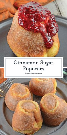 Cinnamon Sugar Popovers are easier to make then you think! A crispy outside and chewy with cinnamon and sugar, then drizzled in a fresh raspberry sauce. Best Dessert Recipes, Easy Desserts, Sweet Recipes, Delicious Desserts, Breakfast Recipes, Snack Recipes, Yummy Food, Breakfast Muffins, Dessert Party