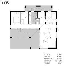 Linjakkaattalot_s330_pohjapiirustus L Shaped House, Small House Plans, Modern House Design, Floor Plans, Layout, Cottage, How To Plan, Architecture, Building