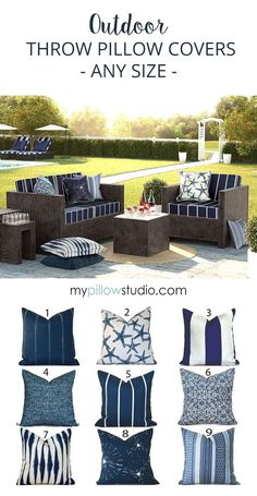 Outdoor Pillow Covers - Designer Throw Pillow Covers. We make your covers to fit any size pillow insert. Fabric is a medium weight, 100% screen printed polyester.  Colors include navy blue and white. #BlueDecor #OutdoorDecor #ThrowPillows #DIYDecor