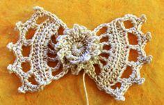cute crochet bow clip for hair? shoes?