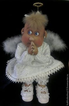 Textile handmade doll angel Angelina.