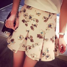 Summer Pink Floral Printed Skirt