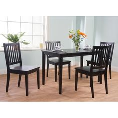 Simple Living Slat Black Rubberwood Dining Chairs (Set Of 4) (Slat Dining  Chair)
