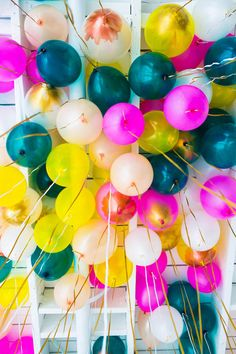 Nothing says it's time to party at the reception quite like these DIY metallic brush-stroke balloons. The touch of gold gives this party staple a sophisticated edge. Party Fiesta, Festa Party, Photo Polaroid, Party Mottos, Love Balloon, Happy Birthday, Birthday Parties, Celebrate Good Times, A Little Party