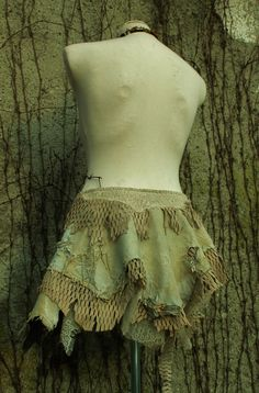 the tribal rainbow warrior skirt in cream beige suede leather