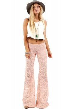 Nightcap Peach Spanish Lace Pant $218- SHOP