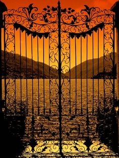 Sunset through beautiful iron gates ~ Lake Como, Italy Beautiful World, Beautiful Places, Beautiful Scenery, Beautiful Sunset, Lake Como, Iron Gates, Garden Gates, Doorway, Belle Photo