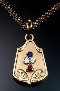 Antique Art Nouveau Jeweled Gold Locket Pendant