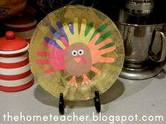 The Home Teacher: Dollar Store Turkey Handprint Plate